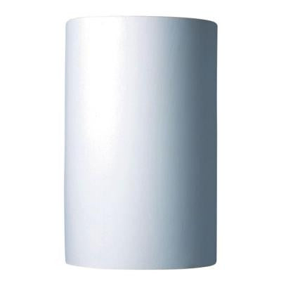 Leonidas 1-Light Paintable Ceramic Bisque Large Cylinder Open Top and Bottom Sconce