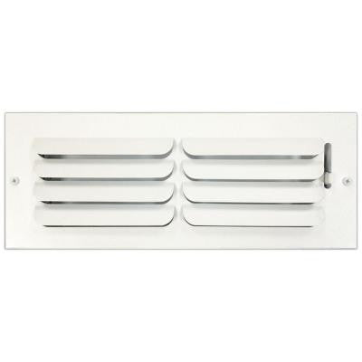 4 in. x 12 in. Ceiling or Wall Register with Curved Single Deflection, White