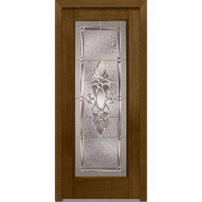 32 in. x 80 in. Heirloom Master Decorative Glass Full Lite Finished Mahogany Fiberglass Prehung Front Door