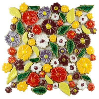 Bouquet Perennial 11-3/4 in. x 11-3/4 in. x 9 mm Ceramic Wall Tile