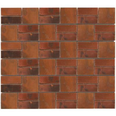 Patina Battery Park 11-3/4 in. x 13 in. x 8 mm Copper Mosaic Wall Tile