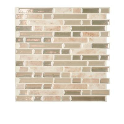 Bellagio Sabbia 10.00 in. x 10.06 in. Peel and Stick Mosaic Decorative Wall Tile Backsplash in Beige (12-Piece)