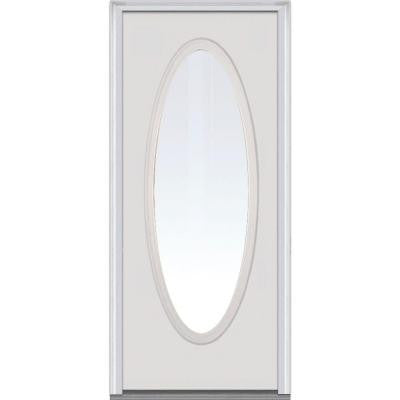 30 in. x 80 in. Classic Clear Glass Full Oval Lite Primed White Majestic Steel Prehung Front Door