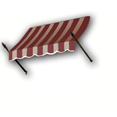 18 ft. New Orleans Awning (31 in. H x 16 in. D) in Burgundy/Tan Stripe