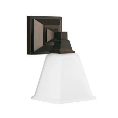 Denhelm 1-Light Burnt Sienna Wall/Bath Sconce with Inside White Painted Etched Glass