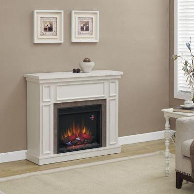 Granville 43 in. Convertible Electric Fireplace in Antique White with Faux Stone Surround