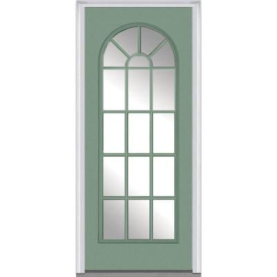36 in. x 80 in. Classic Clear Glass Round Top Full Lite Painted Majestic Steel Prehung Front Door