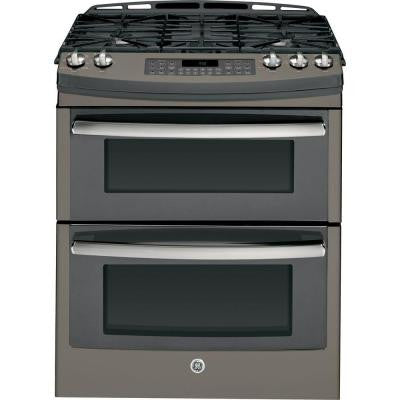 Profile 6.8 cu. ft. Double Oven Gas Range with Self-Cleaning Convection Oven in Slate