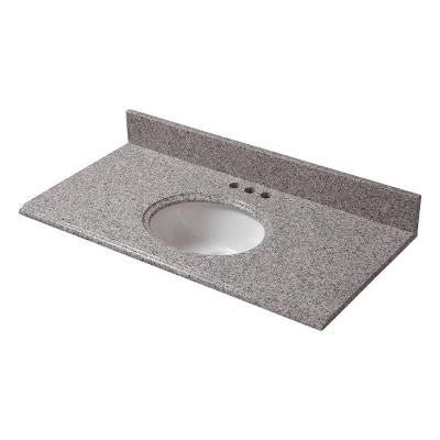 37 in. x 19 in. Granite Vanity Top in Napoli with White Bowl and 4 in. Faucet Spread