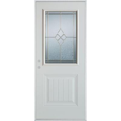 36 in. x 80 in. Geometric Zinc 1/2 Lite 1-Panel Prefinished White Right-Hand Inswing Steel Prehung Front Door