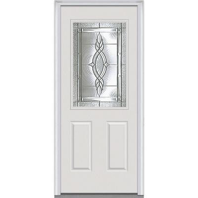34 in. x 80 in. Brentwood Decorative Glass 1/2 Lite 2-Panel Primed White Fiberglass Smooth Prehung Front Door