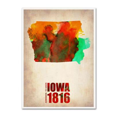 19 in. x 14 in. Iowa Watercolor Map Canvas Art
