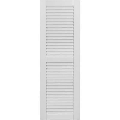 18 in. x 64 in. Exterior Composite Wood Louvered Shutters Pair Primed