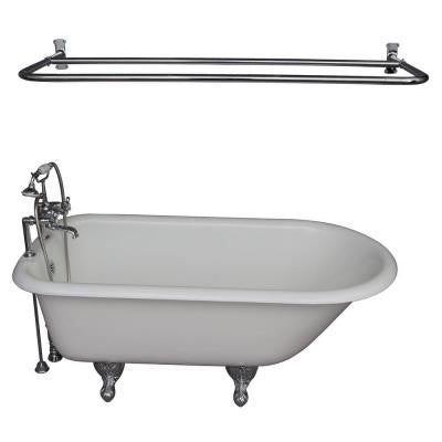 5.6 ft. Cast Iron Roll Top Bathtub Kit in White with Polished Chrome Accessories