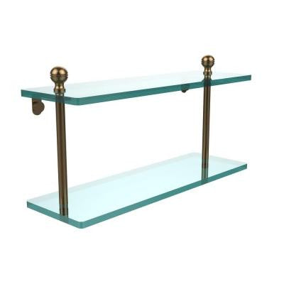 Mambo Collection 5 in. W x 16 in. L 2-Tiered Glass Shelf in Brushed Bronze