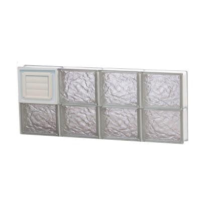 31 in. x 11.5 in. x 3.125 in. Ice Pattern Glass Block Window with Dryer Vent