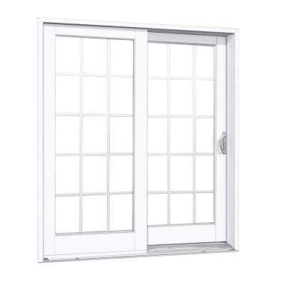 Composite Right-Hand Woodgrain Interior 15 Lite External Grilles Sliding Patio Door