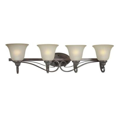 4-Light Antique Bronze Bath Vanity Light with Shaded Umber Glass