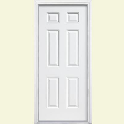36 in. x 80 in. 6-Panel Primed Steel Prehung Front Door with Brickmold