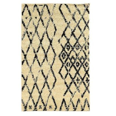 Moroccan Collection Marrakes Ivory and Black 8 ft. x 10 ft. Indoor Area Rug