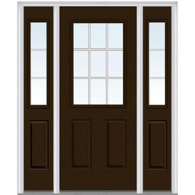 60 in. x 80 in. Classic Clear Glass GBG 1/2 Lite Painted Builder's Choice Steel Prehung Front Door with Sidelites