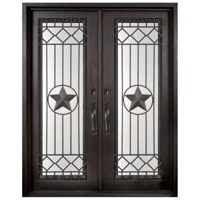 62 in. x 97.5 in. Texas Star Classic Full Lite Painted Oil Rubbed Bronze Wrought Iron Prehung Front Door