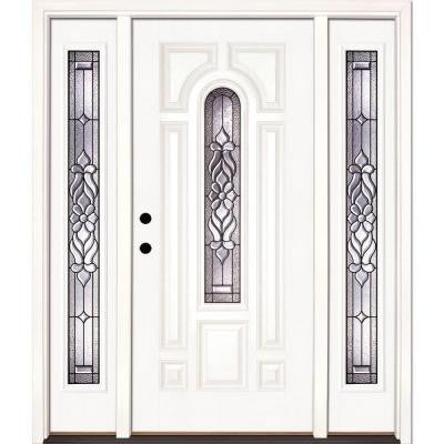 63.5 in. x 81.625 in. Lakewood Patina Center Arch Lite Unfinished Smooth Fiberglass Prehung Front Door with Sidelites