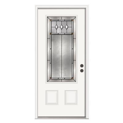 36 in. x 80 in. Mission Prairie 3/4 Lite Primed Premium Steel Prehung Front Door with Brickmould