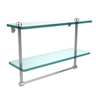 16 in. W 2-Tiered Glass Shelf with Integrated Towel Bar in Polished Chrome
