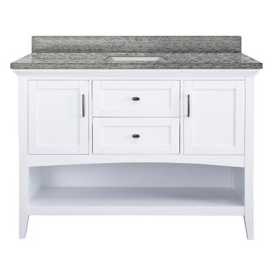 Brattleby 61 in. W x 22 in. D Vanity in White with Granite Vanity Top in Santa Cecilia with White Basins