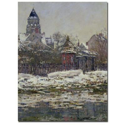 14 in. x 19 in. The Church at Vetheuil 1879 Canvas Art