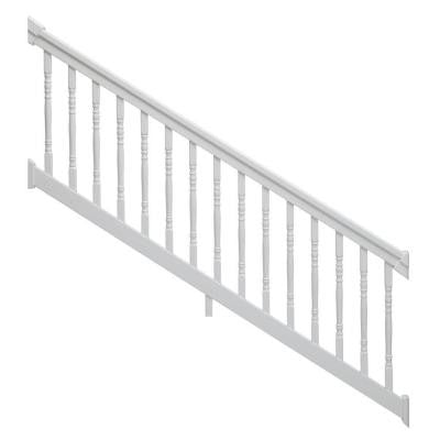 8 ft. x 36 in. 36-Degree to 41-Degree White Stair Rail Kit with Colonial Balusters