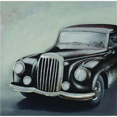 "40 in. x 40 in. ""Classic Car"" Hand Painted Metal Wall Art"