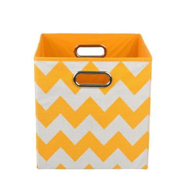 Bold 10.5 in. x 10.5 in. x 10.5 in. Chevron Folding Orange Fabric Storage Bin