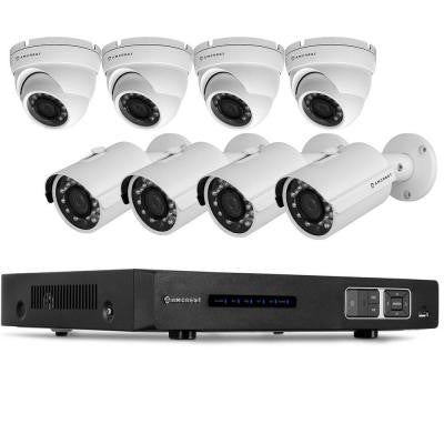 720P Tribrid HDCVI 8CH 2TB DVR Security Camera System with 4 x 1MP Bullet Cameras and 4 x 1MP Dome Cameras - White