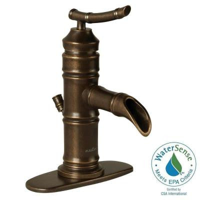 Bamboo 4 in. Centerset 1-Handle Bathroom Faucet in Heritage Bronze