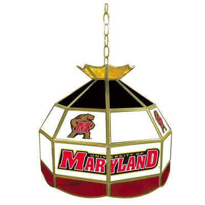 Maryland University 16 in. Gold Hanging Tiffany Style Billiard Lamp