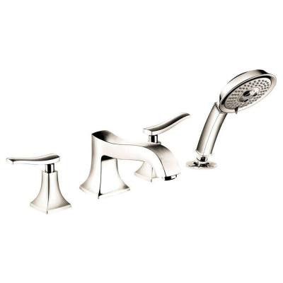 Metris C 2-Handle Deck-Mount Roman Tub Faucet with Handshower in Polished Nickel