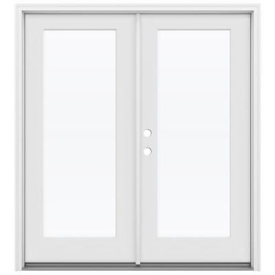 64 in. x 80 in. Smooth Pro Full Lite Primed White Double Fiberglass Prehung Front Door