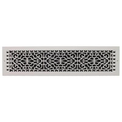 Victorian Wall Mount 6 in. x 30 in. Polymer Resin Decorative Cold Air Return Grille, White