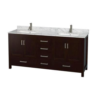 Sheffield 72 in. Double Vanity in Espresso with Marble Vanity Top in Carrara White