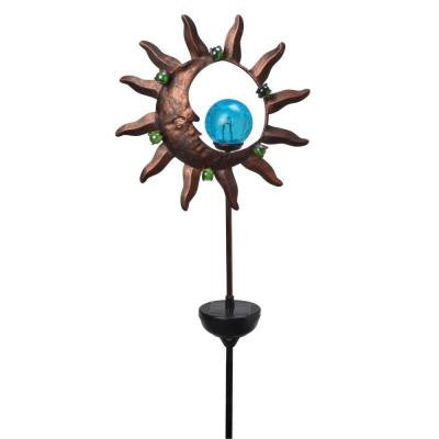 Solar Powered White LED Sun/Moon Stake Light