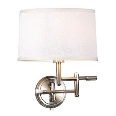 1-Light White Wall Pivoter Swing-Arm Lamp