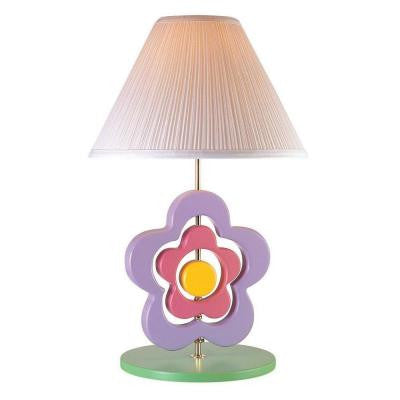23 in. Multi-Colored Kids and Teens Hippie Spinning Flower Table Lamp