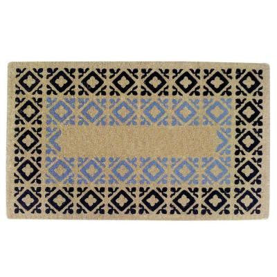 Crispin Blue and Black 22 in. x 36 in. HeavyDuty Coir Door Mat