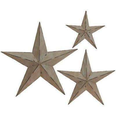 23.75 in. Light Grey Metallic Metal Wall Stars (Set of 3)