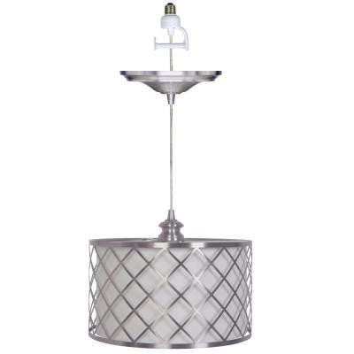 Paula 1-Light Brushed Nickel Pendant Conversion Kit with White/Nickel Shade