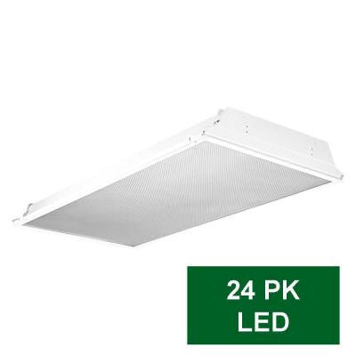2 ft. x 4 ft. White LED Prismatic Backlit Grid Ceiling Troffer (24-Pack)