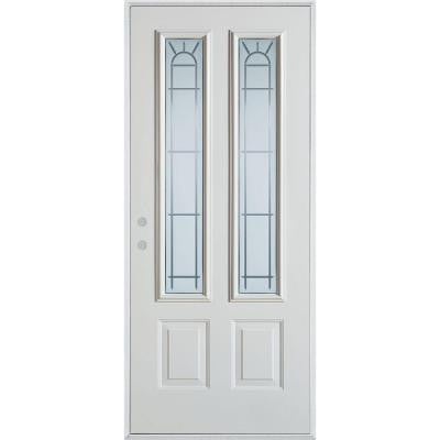 32 in. x 80 in. V-Groove 2 Lite 2-Panel Prefinished White Right-Hand Inswing Steel Prehung Front Door