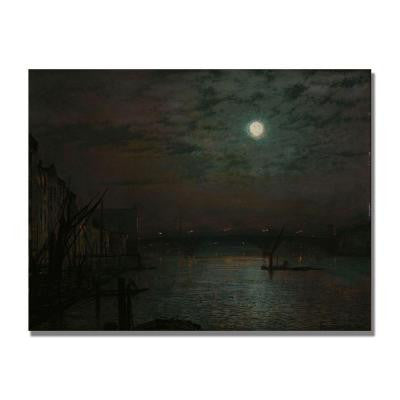 24 in. x 32 in. Southwark Bridge by Moonlight Canvas Art